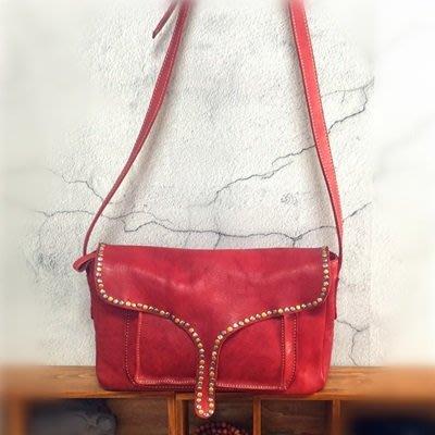 肩背 包 植鞣皮 側背 包-個性有型鉚釘復古女包包4色73sv47[獨家進口][米蘭精品]