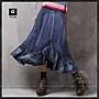 荷葉邊牛仔裙長裙半身裙魚尾裙丹寧藍色顯瘦...