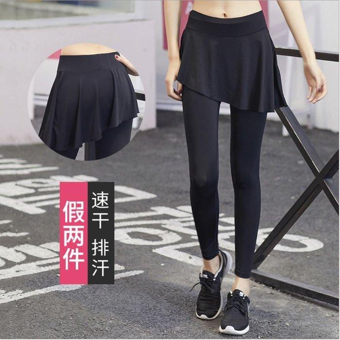 【Zoe Sport 柔依運動衣坊】女 假兩件9分褲裙 斜式下擺 時尚 瑜珈 吸濕排汗 透氣#C37-CK8107