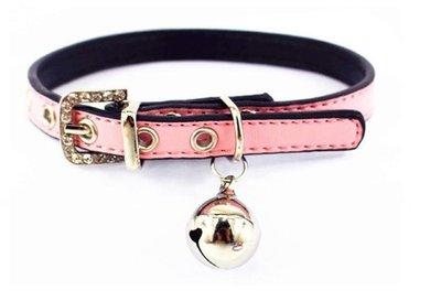 粉紅糖果色水鑽項圈(帶鈴鐺)/寵物鈴噹水鑽項圈 / 寵物項圈