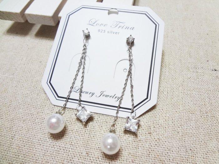 【Love Trina】A8220-8152。 925銀針。珍珠+鋯石長垂墜耳針式耳環--銀針(1色)
