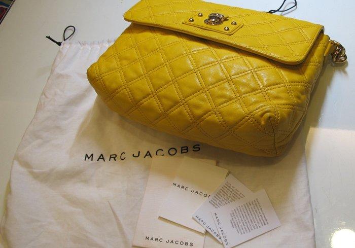 Marc Jacobs 亮黃色羊皮菱格紋 金鍊包/肩背包/晚宴包 歡迎面交