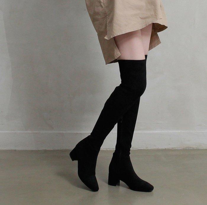 韓國連線 韓國進口5cm粗跟麂皮絨布及亞光皮革彈性過膝靴【B142】♥tutti.moda♥
