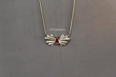 Tiffany & Co. 紅寶石 925純銀 18K金 蝴蝶結項鍊 (蒂芙尼)