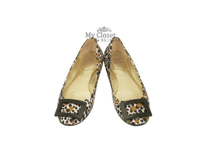 My Closet 二手名牌 Roger Vivier 經典豹紋黑方框圓頭平底鞋