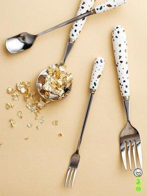 水磨色陶瓷柄不銹鋼餐具便攜勺子套裝攪拌勺調羹湯匙