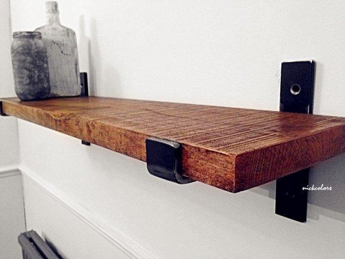 尼克卡樂斯 ~工業風實木一字型置物層板架 復古原木層板置物架 壁面書櫃書架 收納壁掛架 客