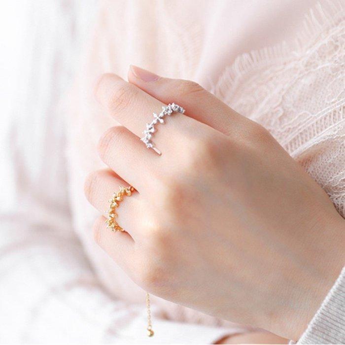 戒鍊戒指925純銀花鑽鏈條可調寬度金銀花朵戒(任選1入)_☆優購好SoGood☆
