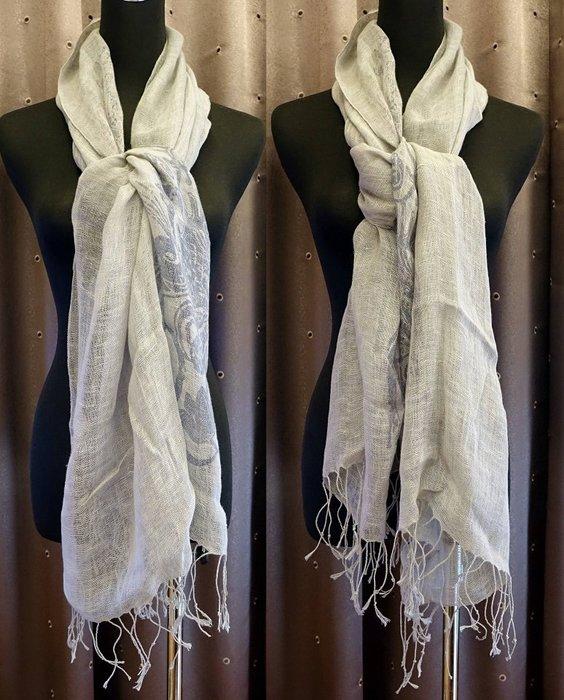 二手 Angel Paris 灰色針織流蘇圍巾,民族風花樣,只有一件,低價起標無底價!免運費!