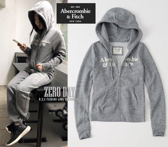 零時差A&F真品Abercrombie&Fitch Heritage Logo Full-Zip Hoodie連帽外套灰