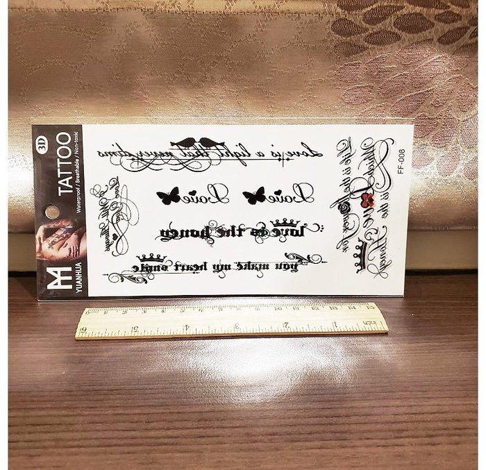 【萌古屋】英文蝴蝶 - 男女防水紋身貼紙原宿刺青貼紙FF-008 K19