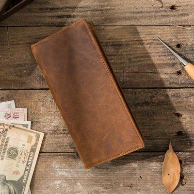 ♠2018男士復古瘋馬皮長款手機錢包頭...