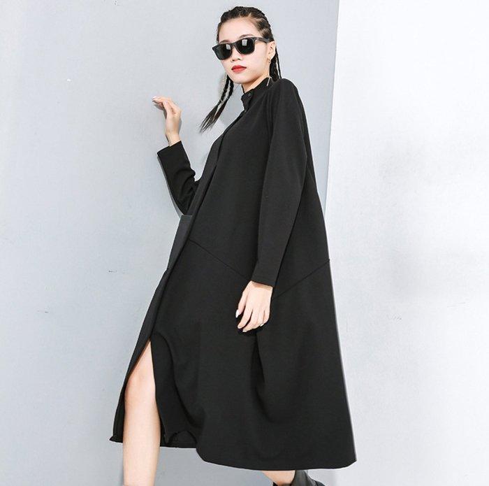 他山之石 ♥連身裙【暗黑系拼接立領開衩連身裙】