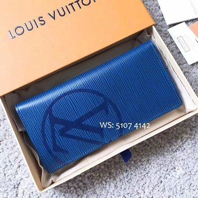 LV 男士藍色水波紋真皮銀包 BRAZZA長款拉鏈對折錢包多卡位西裝錢夾 M63513 Wallet