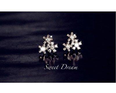 ☆Sweet Dream☆精品氣質名媛閃亮鋯石雪花後掛式2用耳環(銀)320元(銀耳針防敏) 滿399免運