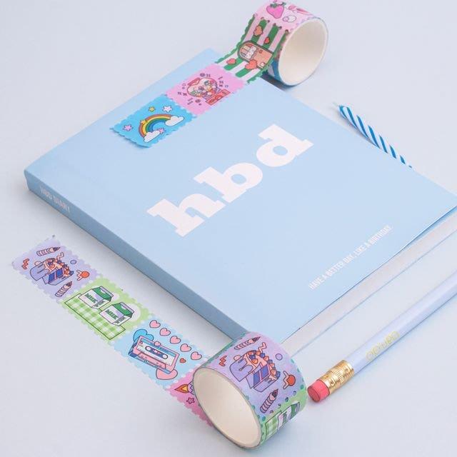 ❅PAVEE❅ 韓國lucalab~ Cotton Candy Masking Tape 棉花糖 郵票造型紙膠帶