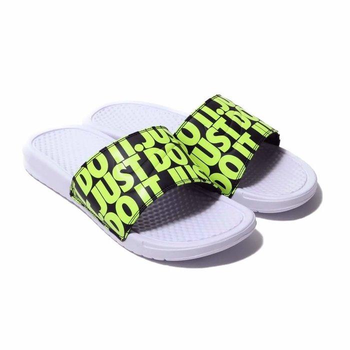 =CodE= NIKE BENASSI JDI PRINT 圖騰皮革防水拖鞋(白黃綠) 631261-103 GD 男女