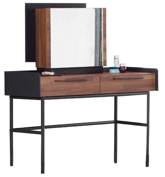 【DH】商品貨號N522-5商品名稱《卡梭》4尺雙色二抽鏡台(圖二)鏡片可推開後面可置物。台灣至可訂做。主要地區免運費