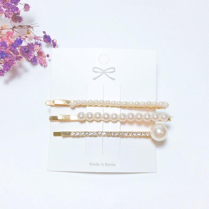 《現貨》韓國❤️ 大小 珍珠 水鑽 組合 一字夾 髮夾 髮飾 5入組 【Verina's韓系美飾】