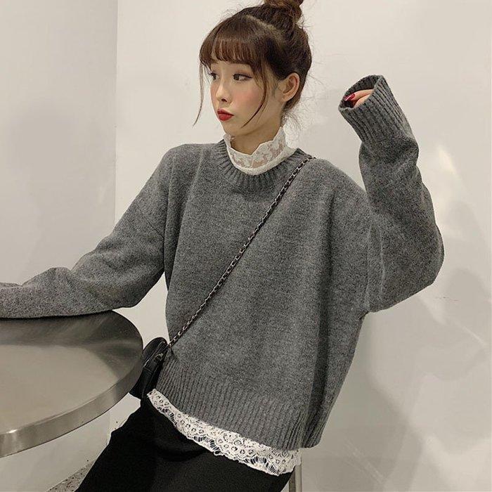 2019秋季韓版chic新款時尚寬松高腰線凈色毛衣+顯瘦打底蕾絲衫女  衣品居 YPJ