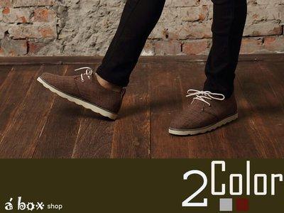格子舖*【KV128】休閒時尚雅痞 3孔繫帶亞麻編織圓頭靴 2色現貨