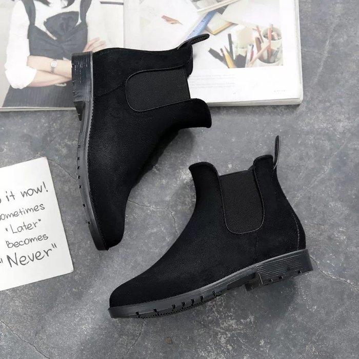 歐美街拍 磨砂絨面鬆緊套腳防滑短靴/踝靴 Chelsea boots 雨鞋 雨靴 《BRITISH WAVE》