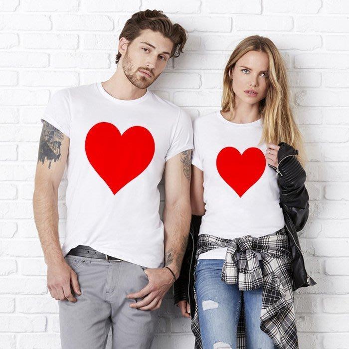 (現貨) Heart Red 男女短袖T恤 白色 情人 禮物 短tee 衣服 短T 寬鬆 韓 t 情侶裝 亞洲版型