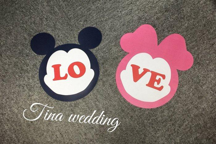 米妮LOVE米奇 婚紗拍照道具 手拿牌 Tina wedding-Q22
