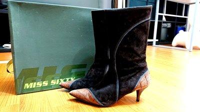 miss sixty 咖啡色麂皮皮革中筒靴 37號
