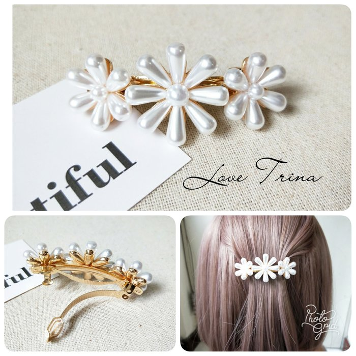 【Love Trina】9112-0405 優雅珍珠花朵金屬造型彈夾(6ᑕᗰ)。自動夾。髮夾 -(1色)~