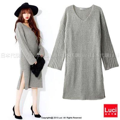 毛衣洋裝 V領針織毛衣洋裝 性感開衩 針織連身裙 韓風 日雜款  LUCI日本代購 [se42ox]