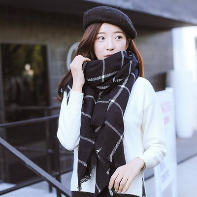 999格子大披肩圍巾兩用女士冬季長款韓版黑白學生加厚軟妹小清新圍巾帽子