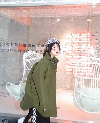 kuosey UN 小個子呢大衣冬季韓版chic百搭純色軍綠加厚毛呢棉服外套