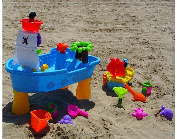 孩子海盜船沙灘玩水桌游戲機女寶寶兒童戲水台神器的玩具套裝男生WY尾牙