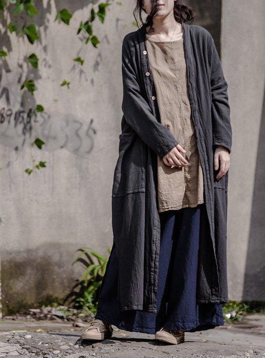 【子芸芳】春秋季森系棉麻寬鬆開衫百搭簡約文藝長款外套