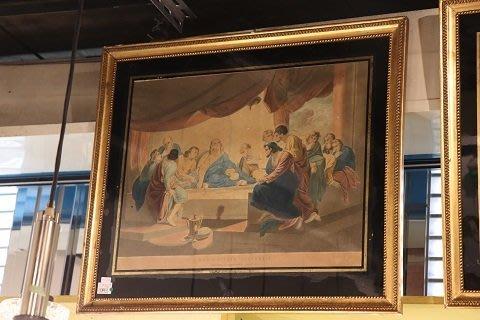 【卡卡頌 OMG歐洲跳蚤市場 / 西洋古董 】歐洲古董聖經耶穌藝術印刷掛畫 pa0092