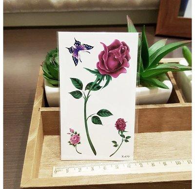 【萌古屋】X系列玫瑰與蝴蝶 - 男女防水紋身貼紙刺青貼紙X-479
