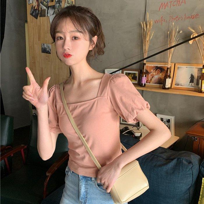 小香風 短袖T恤 時尚穿搭 韓版 寬松純色簡約短袖T恤女網紅ins休閑百搭半袖上衣打底衫潮