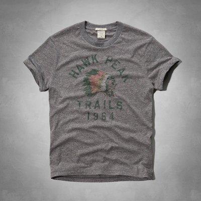Maple麋鹿小舖 Abercrombie&Fitch * AF 灰色印地安圖案短T * ( 現貨M/L/XL號 )