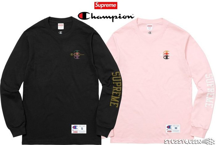 【超搶手】全新正品 2017 Supreme Champion Stacked C LS Tee 長袖t 黑白粉灰S M