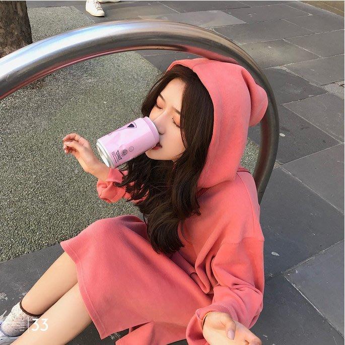 ❤Princess x Shop❤秋季慵懶風連帽T恤純色連衣裙大學T恤帽TDL0891832正韓洋裝一字領露肩性感