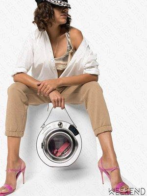 【WEEKEND】 MOSCHINO Washing Machine 洗衣機造型 皮革 圓筒 手拿包 19秋冬