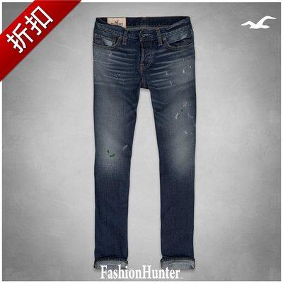 折扣【FH.cc】HCO 修身直筒牛仔褲 Hollister Slim Straight Jeans 雙色潑漆 A&F