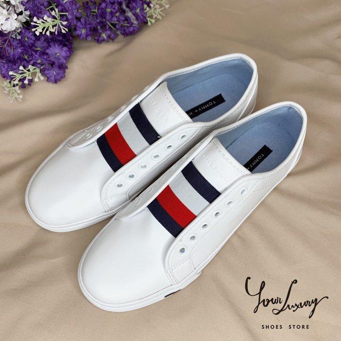 【Luxury】現貨 Tommy Hilfiger TH 懶人鞋 無鞋帶 休閒鞋 正品代購 女鞋 皮質 小白鞋 百搭款