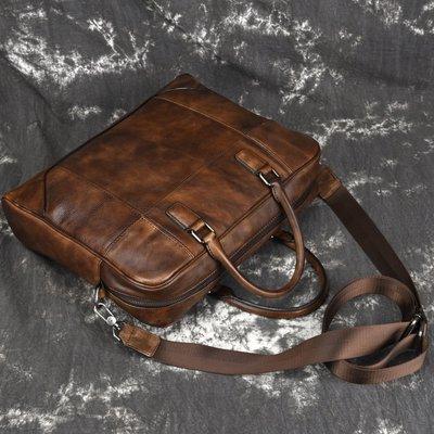 『老兵牛仔』PQ-8109真皮復古手提公文包大容量電腦包/頭層牛皮/復古/彈力/耐拉/個性