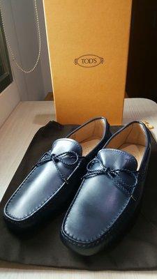 現貨 TOD's Tods 開車豆豆鞋 膠底 深藍色/灰色 Gommino loafer 二手 UK 7.5