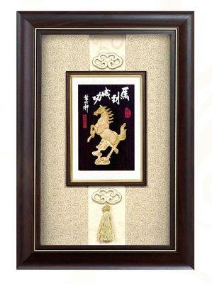 『府城畫廊-台灣工藝品』竹雕-馬到成功-47x69-(立體裱框,高質感掛匾)-請看關於我聯繫-H06-09