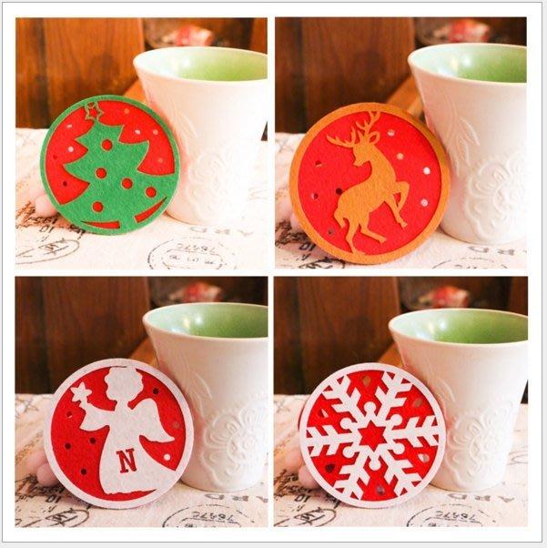 不挑款【雙色立體聖誕杯墊】  裝飾 雪花 麋鹿 聖誕樹 鈴鐺 麋鹿 雪人 吸水杯墊 隔熱杯墊 贈品  迎賓禮 聖誕禮品