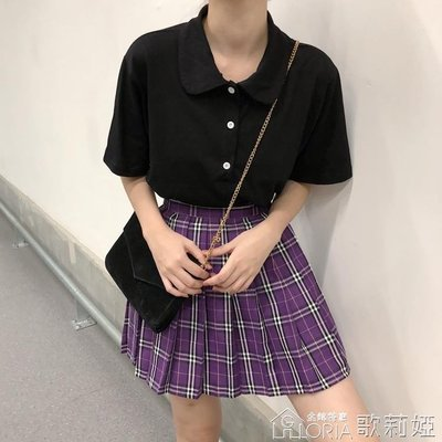 【免運】-夏季韓版甜美學院純色寬鬆顯瘦...