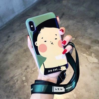 手機殼 夏日清新可愛女孩蘋果X手機殼藍光iphone7plus/8全包軟6S女款掛繩